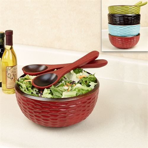 Honeycomb Mango Wood Salad Bowl