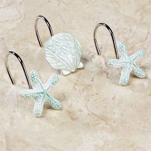 Seaside Shower Curtain Hooks White Set Of Twelve