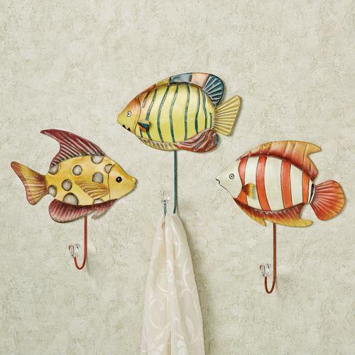 Trio of Fish Wall Hook Set Multi Bright Set of Three