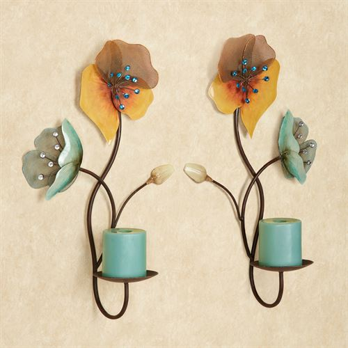 Tuscany Floral Wall Sconce Pair Brown Pair
