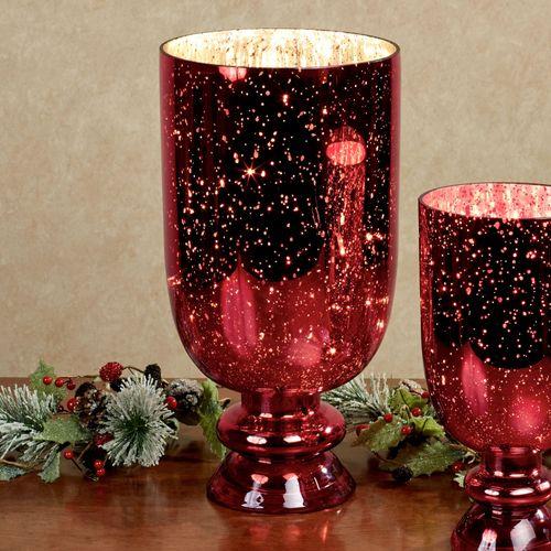 Mercury Glass Hurricane Red