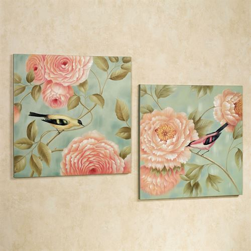 Perched by Flowers Canvas Art Multi Pastel Set of Two