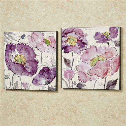 Poppy Rhapsody Wall Art Set Purple Set of Two