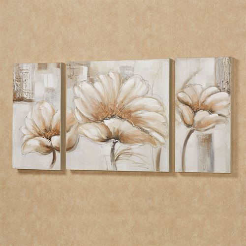 Blooming Splendor Canvas Art Set Cream Set of Three