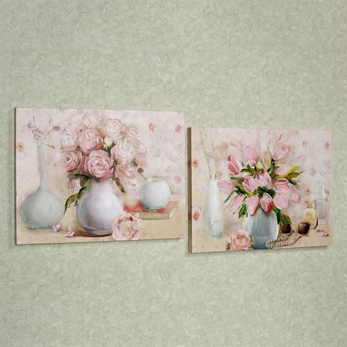 Blooming Vases Canvas Wall Art Set Pink Set of Two