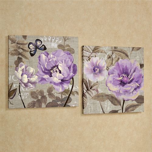 Floral Delight Canvas Wall Art Set Purple Set of Two