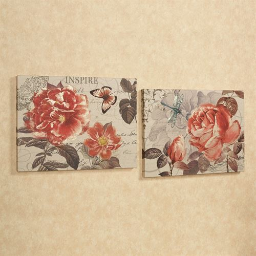 Charming Floral Canvas Wall Art Set Beige Set of Two