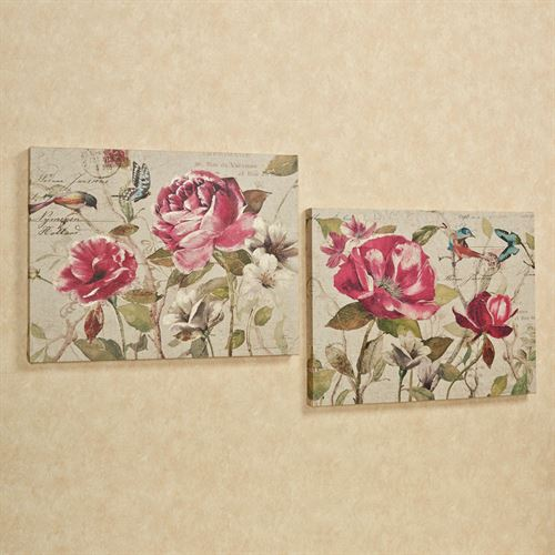 Garden Blooms Canvas Wall Art Set Beige Set of Two