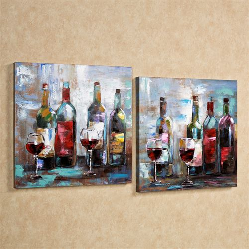 Wine Festival Canvas Wall Art Set Multi Jewel Set of Two