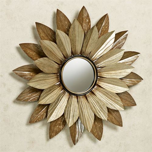 Abellina Floral Mirrored Wall Art Champagne Gold