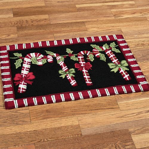 Candy Cane Garland Rug Black 20 x 32