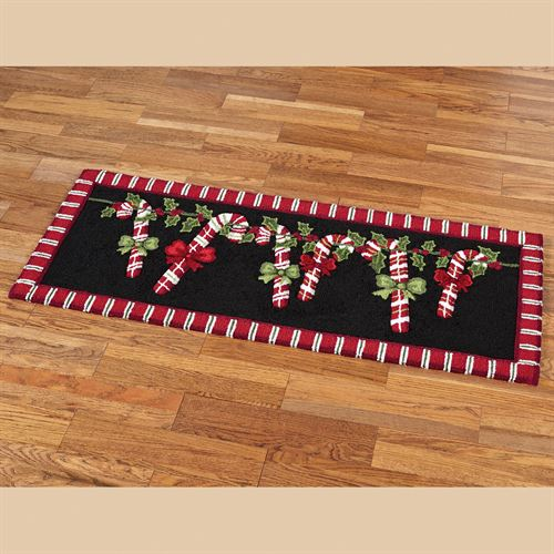 Candy Cane Garland Rug Runner Black 22 x 54