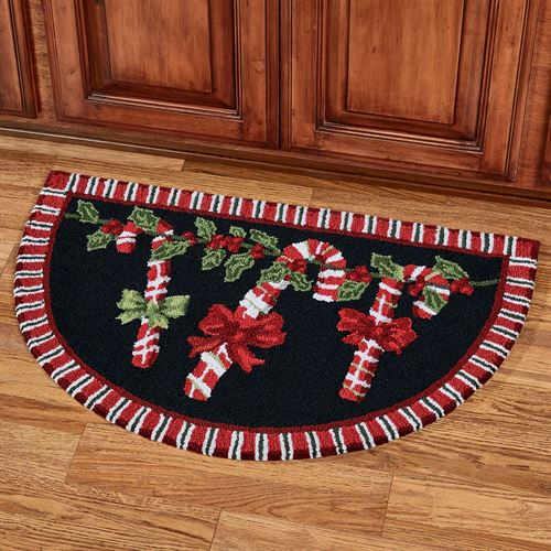 Candy Cane Garland Slice Accent Rug Black 33 x 21