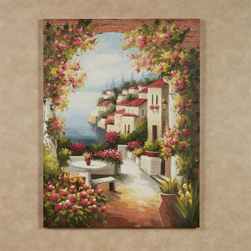 Seaside Village Canvas Wall Art Multi Warm
