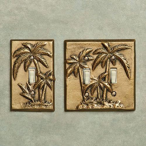 Palm Tree Single Switch Antique Brass