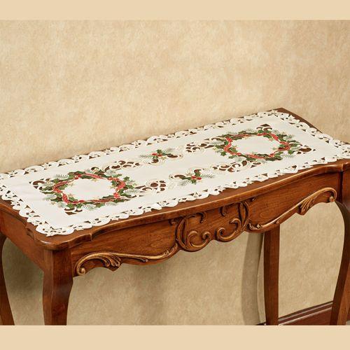 Holiday Wreath Short Table Runner Cream 16 x 36