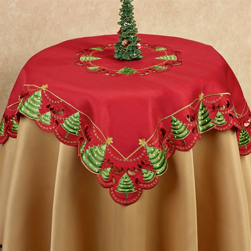 O Christmas Tree Table Topper Red 36 Square