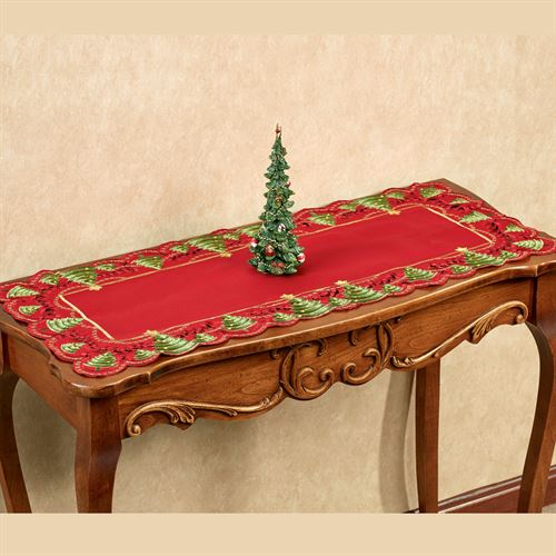 O Christmas Tree Short Table Runner Red 16 x 36