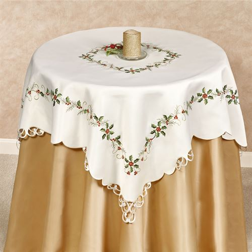 Boughs of Holly Table Topper Cream 36 Square
