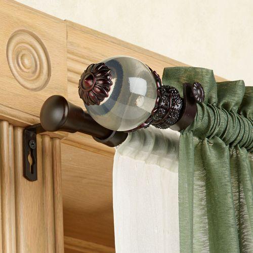 Beam Double Curtain Rod Set Mahogany