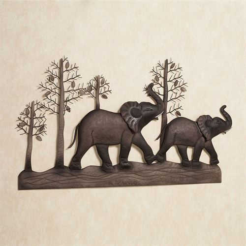 Elephant Metal Wall Art Brown