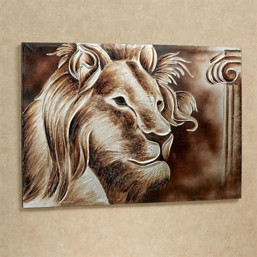 Regal Lion Canvas Art Silver with Gold