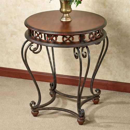 Addney Round Accent Table Regal Walnut