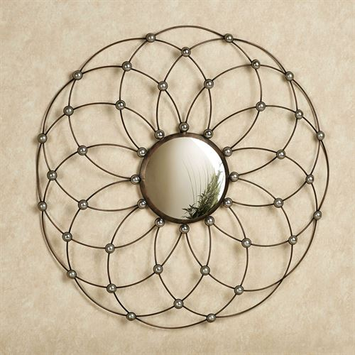 Blooming Reflections Mirrored Wall Art Brushed Bronze