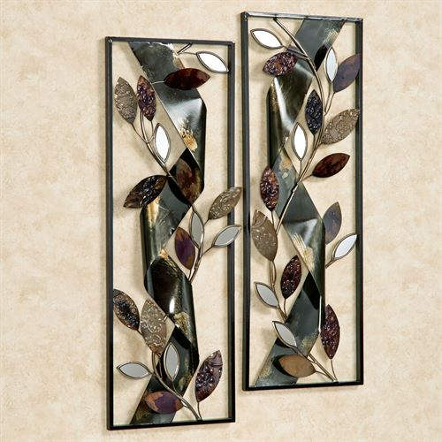 Autumn Whisper Metal Wall Art Panels Black Set of Two