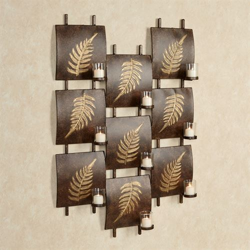 Scattered Leaves Votive Wall Art Bronze