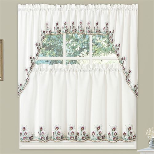 Peacock Plumage Window Treatment Set Eggshell