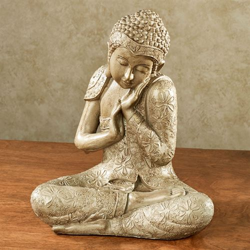 Sacred Mantra Buddha Sculpture Beige/Cream