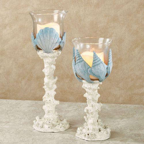 Shell Wonders Coastal Candleholders Blue Set of Two