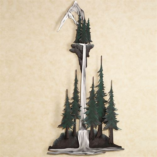 woodland waterfall metal wall sculpture