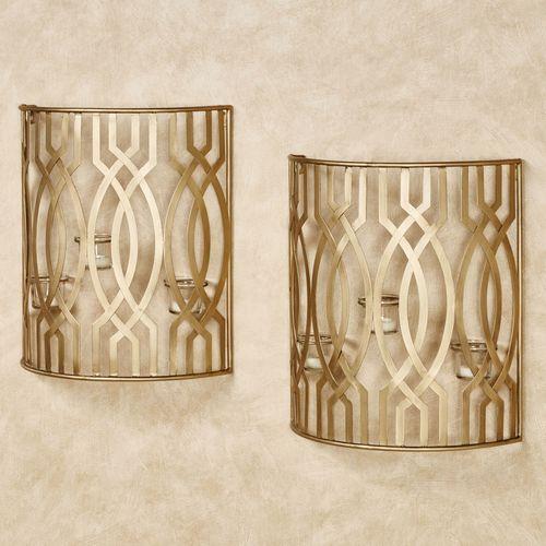 Byanca Wall Candleholders Satin Gold Pair