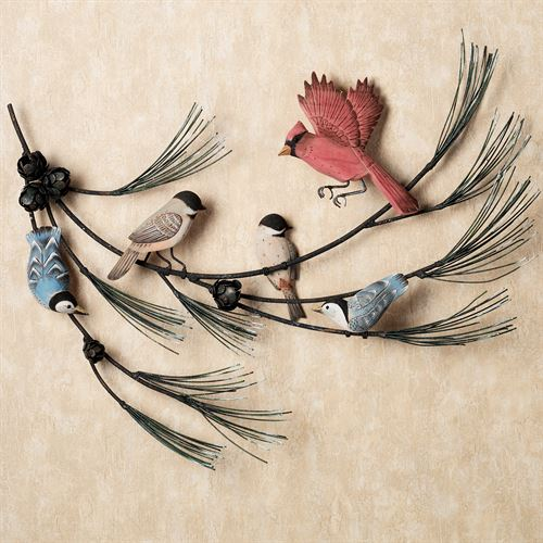 Birds in Pine Branch Wall Sculpture