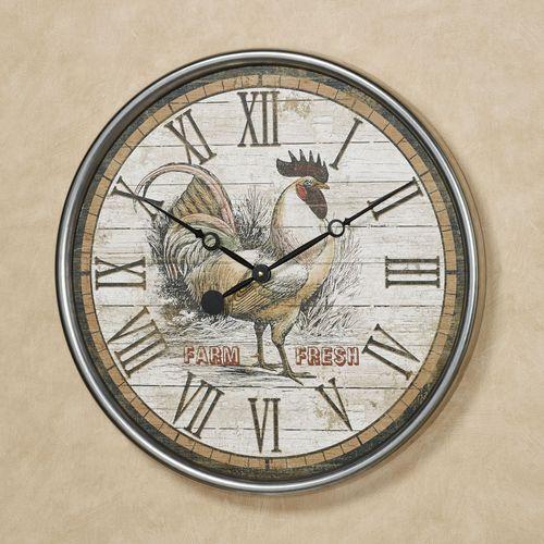 Farm Fresh Rooster Wall Clock Multi Warm