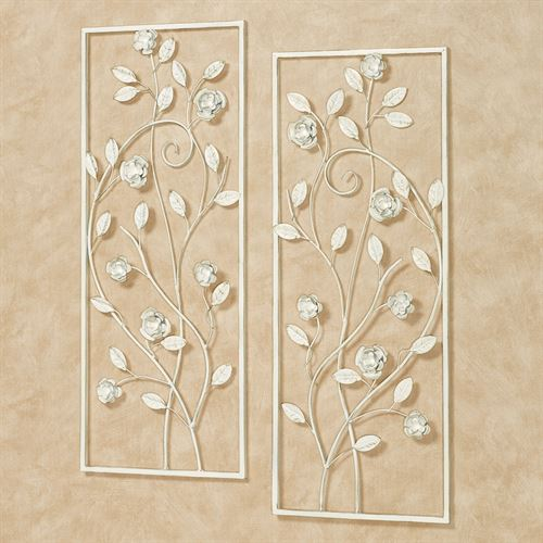 Charming Rose Wall Art Panels Ivory/Gold Set of Two