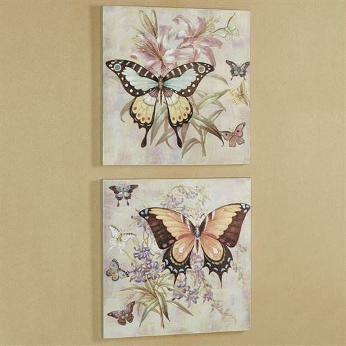 All Aflutter Butterfly Canvas Wall Art Multi Pastel Set of Two