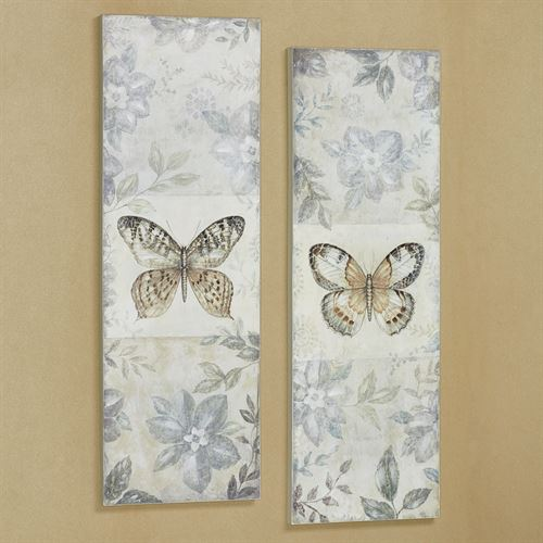 Around the Garden Butterfly Canvas Wall Art Multi Cool Set of Two
