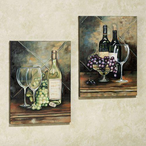 Wine Bottle Canvas Set  Set of Two