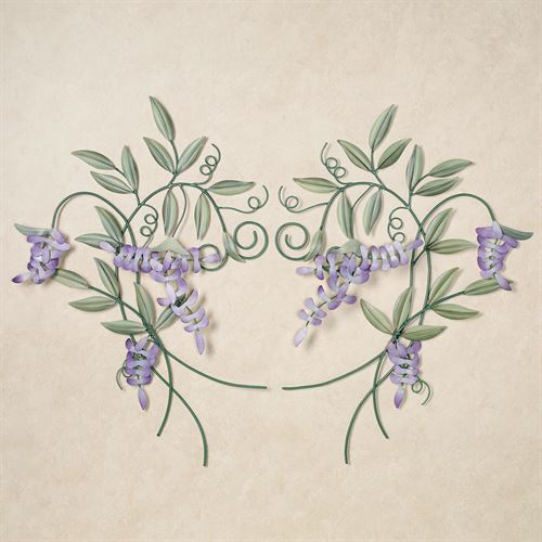 Wisteria Scrolling Vines Wall Sculpture SetPurpleSet of Two