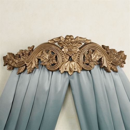 Flowering Medallion Wall Teester Bed Crown Aged Gold