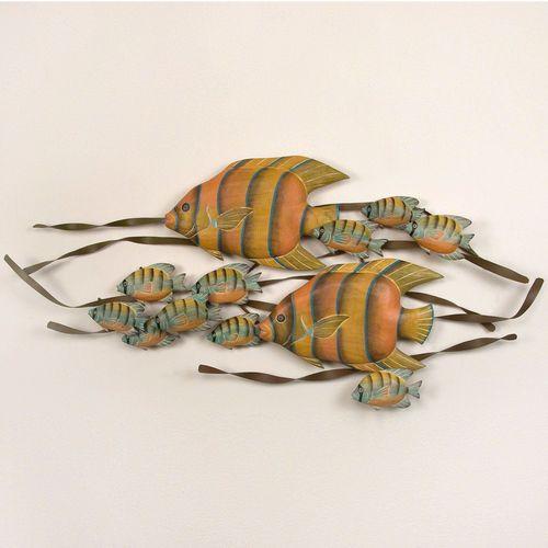 Underwater Angelfish Wall Sculpture Yellow