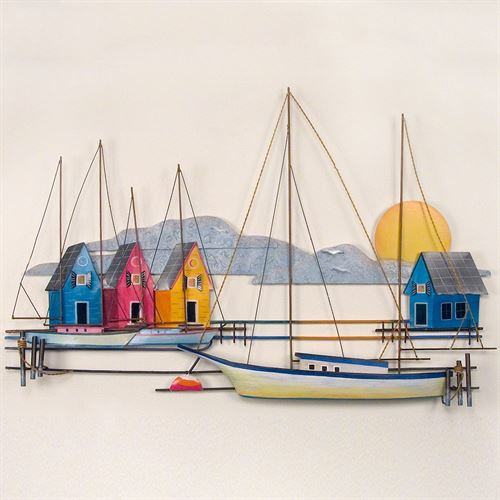 Island Harbor Metal Wall Sculpture Blue