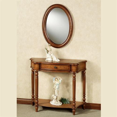 Amber Manor Console Table and Wall Mirror Set Honey Maple Set of Two