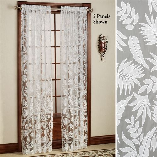 Leaves Burnout Tailored Sheer Curtain Panel Pearl
