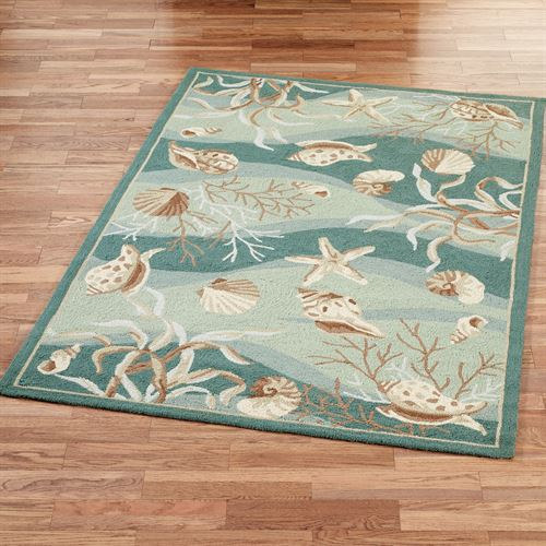 Seashells Rectangle Rug Seafoam