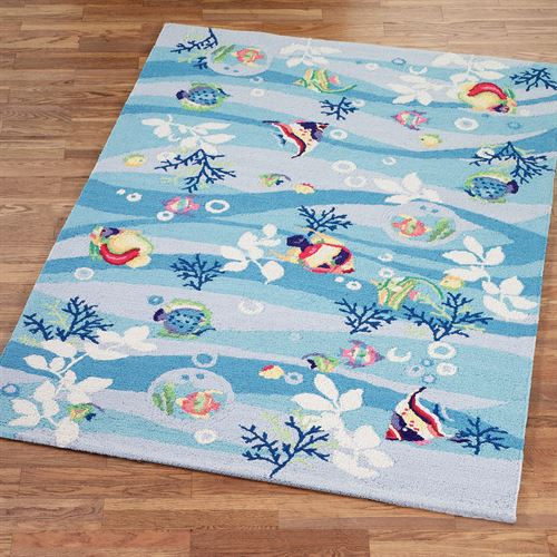 Tropical Fish Rectangle Rug Blue