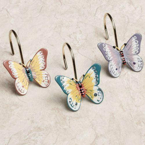 Butterfly Meadow Shower Curtain Hook Set Multi Pastel Set of Twelve